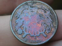 1865 TWO 2 CENT PIECE- MONSTER PURPLE TONING