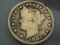 1902 LIBERTY HEAD V NICKEL- VG/FINE DETAILS, GOLD PLATED