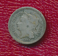 1873 THREE CENT NICKEL   OPEN 3    CIRCULATED