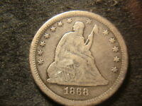 1868 S VF DETAILS SEATED LIBERTY QUARTER DOLLAR REVERSE SCRAPES JLY