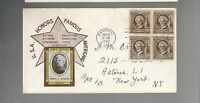 US FDC FIRST DAY COVER  863  MARK TWAIN 1940 FAMOUS AMERICANS  BLOCK