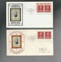 US FDC FIRST DAY COVER  875 LONG 1940 FAMOUS AMERICANS  LOT OF 2