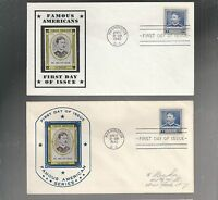 US FDC FIRST DAY COVER  877 WALTER REED 1940 FAMOUS AMERICANS  LOT OF 2