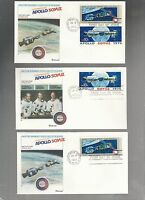 US FDC  1569 1570 APOLLO SOYUZ SPACE DOCKING 1975   LOT OF 5 BY FLEETWOOD