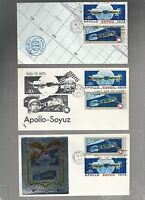 US FDC  1569 1570 APOLLO SOYUZ SPACE DOCKING 1975   LOT OF 3  COMBO