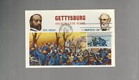 US FDC  1963   1180 GETTYSBURG CIVIL WAR    POST CARD BATTLE MEADE LEE