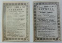 PAIR OF EARLY WELLS FARGO & CO. EXPRESS NEWSPAPER ADVERTSEMENTS -- SAN FRANCISCO