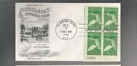 US FDC  FIRST DAY COVER  952 FLORIDA EVERGLADES 1947 PLATE BLOCK FLEETWOOD