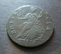 1774 GREAT BRITAIN HALF PENNY COIN CIRCULATED CONDITION LOT 38