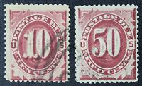 CKSTAMPS: US POSTAGE DUE STAMPS COLLECTION SCOTTJ26 J28 2 USED J28 TINY THIN