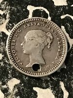 1843 GREAT BRITAIN 1 1/2 PENCE LOT4979 SILVER  HOLED