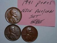 WHEAT PENNY LOT 1941,1941D,1941S SET 3 AU/CH BU LINCOLN CENTS 41 P,1941 D,1941 S