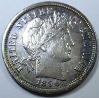 1896 S  KEY DATE XF AU U.S. BARBER DIME 10 CENT ANTIQUE OLD US CURRENCY COIN