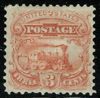 [//60] USA SCOTT114-E6D 3 1869 ESSAY PLATE ON STAMP PAPER, GRILLED ROSE RED