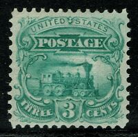 [//80] USA SCOTT114-E6D 3 1869 ESSAY PLATE ON STAMP PAPER, GRILLED GREEN