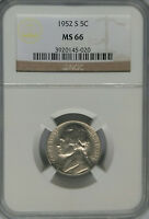 NGC 1952 S THOMAS JEFFERSON NICKEL MS66 MINT STATE US 5C COIN PRICE GUIDE $30 BU