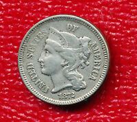 1872 THREE CENT NICKEL LIGHTLY CIRCULATED TYPE COIN