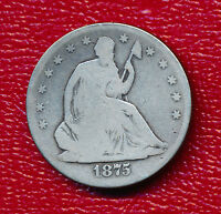 1875 S SEATED LIBERTY SILVER HALF DOLLAR VERY NICE CIRCULATED HALF FREE SHIP