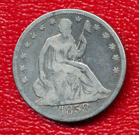 1858 SEATED LIBERTY SILVER HALF DOLLAR POPULAR COLLECTOR'S YEAR