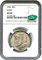 1936 ELGIN 50C NGC/CAC MINT STATE 66 - SILVER CLASSIC COMMEMORATIVE