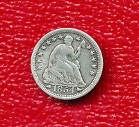 1854 SEATED LIBERTY SILVER HALF DIME WITH ARROWS VARIETY