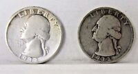 1932 D 1932 S WASHINGTON QUARTERS   LOT OF TWO   ONE OF EACH KEY DATE