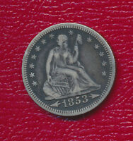 1853 SEATED LIBERTY SILVER QUARTER VARIETY WITH ARROWS & RAYS