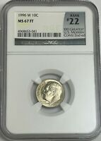 1996 W ROOSEVELT DIME NGC MS67 FT FULL TORCH  22OF 100 GREATEST US MODERN COINS