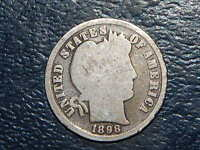 1898 BARBER DIME OLD US COIN BENT 2639