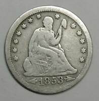 1853 SEATED LIBERTY SILVER QUARTER. GOOD. BELOW WHOLESALE
