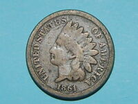 1861 INDIAN CENT PENNY COPPER/NICKEL COIN KEY DATE  353