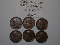 WHEAT PENNY LOT 1924 S,1925 S,1927 S,1928 S,1929 S,1930S SET OF 6 LINCOLN CENTS