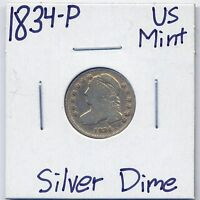 1834 P CAPPED BUST DIME US MINT SILVER COIN  ESTATE COIN 90