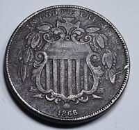 1866 WITH RAYS & OBVERSE DIE CRACK U.S. SHIELD NICKEL 5 CENT OLD US ANTIQUE COIN