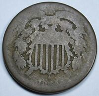 1864 U.S. 2C TWO CENT PIECE 2 PENNY US ANTIQUE CURRENCY COIN REAL OLD USA MONEY