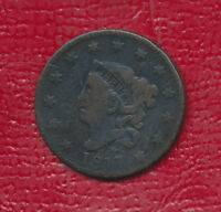 1817 CORONET HEAD COPPER LARGE CENT - 13 STAR -  CIRCULATED