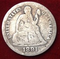 1891 10C SEATED LIBERTY DIME
