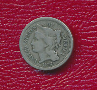 1872 THREE CENT NICKEL TONING ACCENTS FEATURES SHIPS FREE