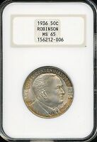 1936 ROBINSON COMMEMORATIVE HALF DOLLAR NGC MINT STATE 65