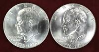 PAIR-1976-P&D TY 1 CHOICE BU EISENHOWER DOLLAR - WHITE - @ CHERRYPICKERCOINS