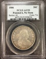 1806 POINTED 6, NO STEM PCGS AU53 HALF DOLLAR ORIGINAL BEAUTY