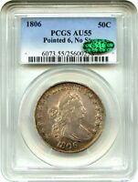 1806 50C PCGS/CAC AU55 POINTED 6, NO STEMS PERFECT TYPE COIN