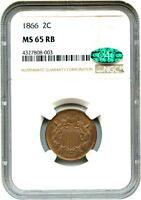 1866 2C NGC/CAC MINT STATE 65 RB - GEM TYPE COIN - 2-CENT PIECE - GEM TYPE COIN