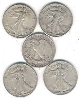 5 DIFFERENT 1940'S WALKING LIBERTY HALF DOLLARS IN VG TO  FINE CONDITION