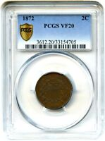 1872 2C PCGS VF20 BN SECURE - 2-CENT PIECE - KEY DATE CIRCULATION STRIKE