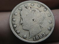 1903 LIBERTY HEAD V NICKEL- VG DETAILS, FULL DATE