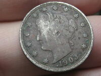 1903 LIBERTY HEAD V NICKEL- FINE/VF DETAILS, FULL DATE, FULL OBVERSE RIMS