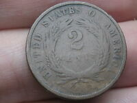1867 TWO 2 CENT PIECE- CIVIL WAR TYPE COIN, VG DETAILS, FULL RIMS
