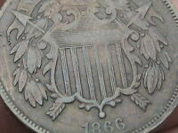 1866 TWO 2 CENT PIECE- FINE/VF DETAILS, PARTIAL WE