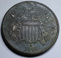 1866 EXTRA FINE -AU DETAIL U.S. TWO CENT PIECE 2 PENNY US ANTIQUE CURRENCY COIN MONEY USA